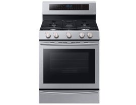 Samsung 30 inch 5.8 cu.ft. True Convection Gas Range 5-burner with Freestanding in stainless steel NX58M6650WS