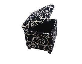 K LIVING Tufted PU Cubic Storage Ottoman-BLACK SUEDE 2012-BK