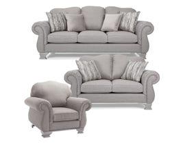 Decor-Rest 3pc Fabric Sofa Set in Grey 6933