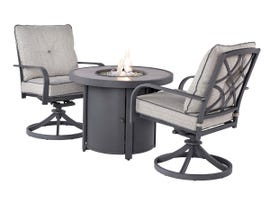 Signature Design by Ashley Donnalee Bay 3-PC Round Fire Pit Table Set in Dark Grey P325-776-601A(2)