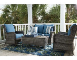 Signature Design by Ashley Abbots Court 4-PC Loveseat Glider with Table Set in Blue/Brown P360-035-802