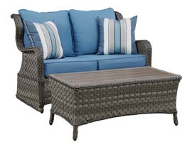 Signature Design by Ashley Abbots Court 2-PC Loveseat Glider with Table in Blue/Brown P360-035