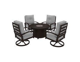 Signature Design by Ashley Castle Island 5-PC Round Fire Pit Table Set in Dark Brown P414-776-821(4)