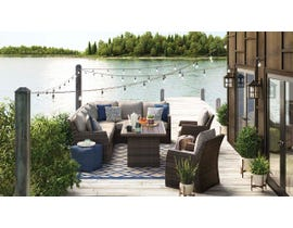 Signature Design by Ashley Salceda 5-PC Retangular Table/Sectional Set in Brown P451-625-823-821