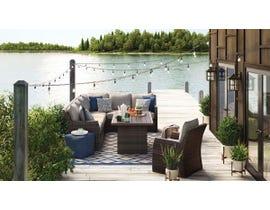 Signature Design by Ashley Salceda 4-PC Retangular Table/Sofa Sectional Set in Brown P451-625-823