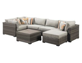 Signature Design by Ashley Spring Dew 7-PC Table/Corner Chair/Ottoman Sectional Set in Grey P453-077-846-877