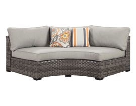 Signature Design by Ashley Spring Dew Curved Corner Chair with Cushion in Grey P453-851