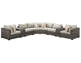 Signature Design by Ashley Spring Dew 7-PC Sectional with Console in Grey