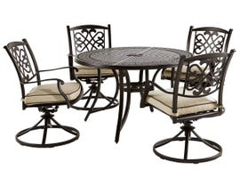 Signature Design by Ashley Burnella 5-PC Round Dining Table and Swivel Chair Set with Umbrella Option in Dark Brown P456-615-602A(4)