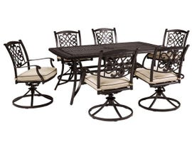 Signature Design by Ashley Burnella 7-PC Regutanglar Dining Table and Swivel Chair Set with Umbrella Option in Dark Brown P456-625-602A(6)