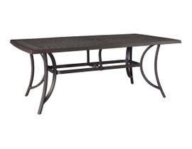 Signature Design by Ashley Burnella Regutanglar Dining Table with Umbrella Option in Dark Brown P456-625