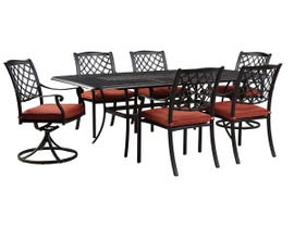 Signature Design by Ashley Tanglevale 7-PC Rectangular Table Set with Umbrella Option in Dark Brown P557-635-601A(4)-602A(2)