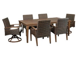 Signature Design by Ashley Paradise Trail 7-PC Rectangular Dining Table Set with Umbrella Option in Medium Brown P750-625-601A(4)-602A(2)