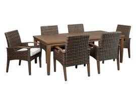 Signature Design by Ashley Paradise Trail 7-PC Rectangular Dining Table and Arm Chairs Set with Umbrella Option in Medium Brown P750-625-601A(6)