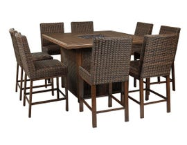 Signature Design by Ashley Paradise Trail 9-PC Square Bar Table Set with Fire Pit in Medium Brown P750-665-130(8)
