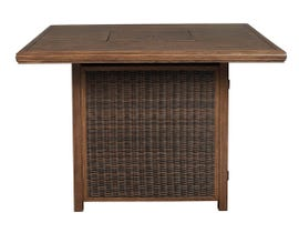Signature Design by Ashley Paradise Trail Square Bar Table with Fire Pit in Medium Brown P750-665