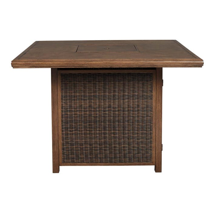 Brilliant Signature Design By Ashley Paradise Trail Square Bar Table With Fire Pit In Medium Brown P750 665 Home Interior And Landscaping Spoatsignezvosmurscom