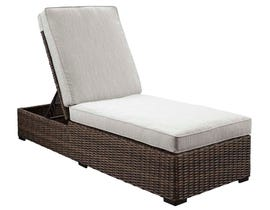 Signature Design by Ashley Alta Grande Chaise Lounge with Cushion in Grey/Dark Brown P782-815