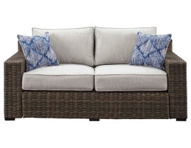 Signature Design by Ashley Alta Grande Loveseat with Cushion in Grey/Dark Brown P782-835