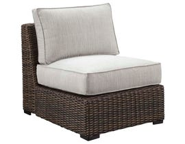 Signature Design by Ashley Alta Grande Armless Chair with Cushion in Grey/Dark Brown P782-846