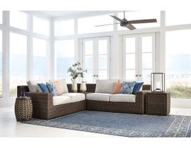 Signature Design by Ashley Alta Grande 4-PC Loveseat Sectional with End Table in Dark Brown P782-854-870-702