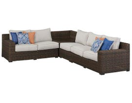 Signature Design by Ashley Alta Grande 4-PC RAF/LAF Loveseat Sectional with Corner End Table in Dark Brown P782-854-870-846