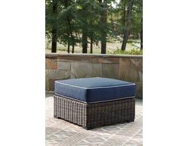 Signature Design by Ashley Grasson Lane Ottoman w/Cushion in Blue/Brown P783-814