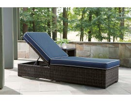 Signature Design by Ashley Grasson Lane Chaise Lounge w/Cushion in Blue/Brown P783-815