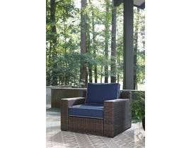 Signature Design by Ashley Grasson Lane Lounge Chair w/Cushion in Blue/Brown P783-820