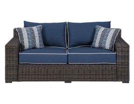Signature Design by Ashley Grasson Lane Loveseat w/Cushion in Brown/Blue P783-835