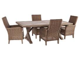 Signature Design by Ashley Beachcroft 5-PC Rectangular Dining Table Set with Umbrella Option P791-625-601(4)
