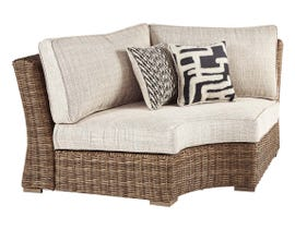 Signature Design by Ashley Beachcroft Curved Corner Chair with Cushion in Beige P791-851