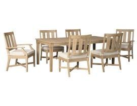 Signature Design by Ashley Clare View 7-PC Rectangular Dining Table with Umbrella Option in Beige P801-625-601(4)-601A(2)