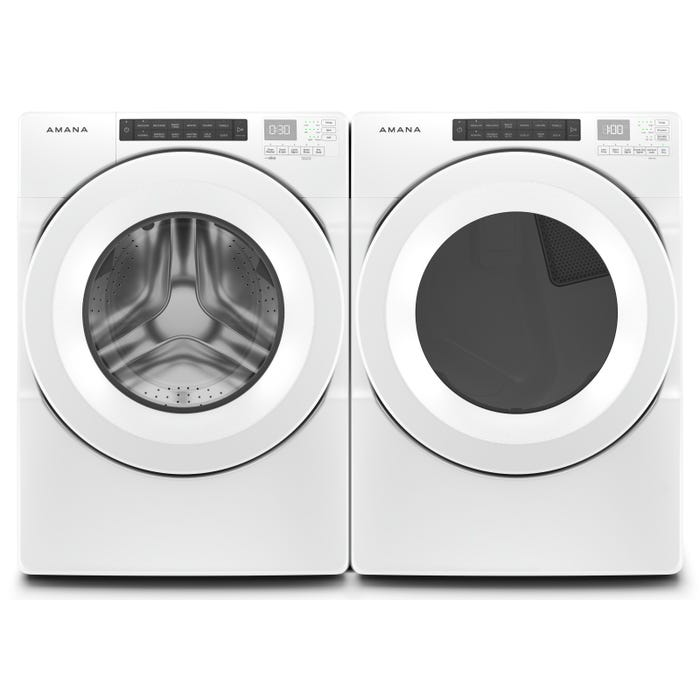 Amana 27 Inch Front Load Washer and Dryer Laundry Pair NFW5800HW/YNED5800HW
