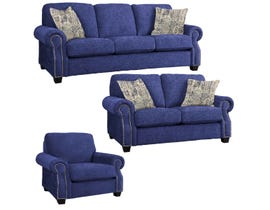 Decor-Rest Rico Collection 3Pc Fabric Sofa Set in Paradigm Navy/Delhi Sand 2279
