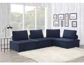 High Society Paxton Collection 4PC Armless Modular Sectional in Navy