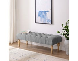 Brassex Fabric Tufted Accent Bench in Grey 6338