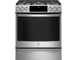 "GE Profile 30"" 5.6 cu. ft. Free-Standing Dual Fuel Convection Range in Stainless Steel PC2S930SELSS"