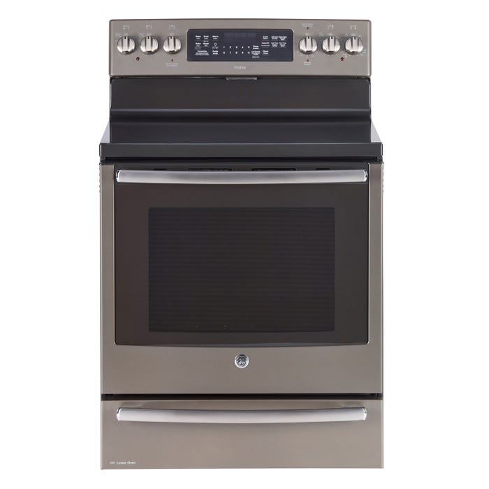 GE profile 30 inch 7.2 cu.ft. Free Standing Electric Convection Range with Baking Drawer and Self Cleaning in slate PCB985EKES