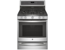 """GE Profile 30"""" 5.6 cu. ft. Free-Standing Dual Fuel Convection Self-Cleaning Range With Warming Drawer in Stainless Steel PC2B940SEJSS"""