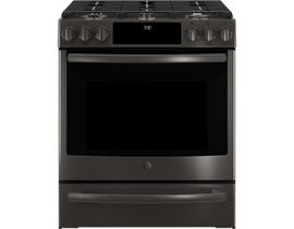 """GE Profile 30"""" 5.6 cu. ft. Slide-In Convection Gas Range in Black Stainless Steel PCGS930BELTS"""