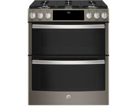 """GE Profile 30"""" 6.7 cu. ft. Slide-In Self-Cleaning Convection Gas Range, Wifi Connectivity in Slate PCGS960EELES"""