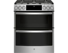 """GE Profile 30"""" 6.7 cu. ft. Slide-In Self-Cleaning Convection Gas Range, Wifi Connectivity in Stainless Steel PCGS960SELSS"""