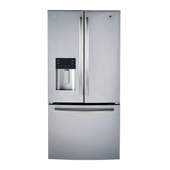 GE Profile 33 inch 23.5 cu.ft. French Door Bottom-Mount Refrigerators in stainless steel PFE24HSLKSS