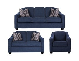 Decor-Rest 3pc Fabric Sofa Set in Pier Navy 2934