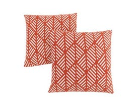 "Monarch Pillow  - 18""X 18"" / ORANGE GEOMETRIC DESIGN / 2PCS"
