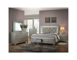 Platinum silver 6-piece queen storage bed set with LED LT150QB