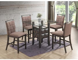 New Classics Home Furnishing Prism Series 5PC Glass Dinette in Taupe D4040
