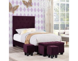 High Society Faith Series Twin Bed and Ottoman Set in Eggplant UFH047TBG