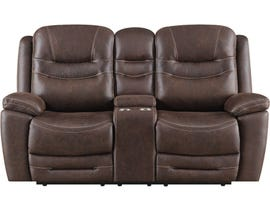 Klaussner Turismo Series Power Reclining Loveseat with Console in Chocolate